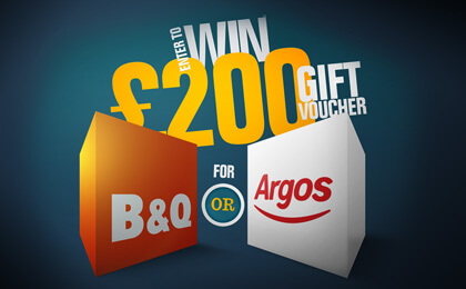 £200 B&Q or Argos Gift Voucher